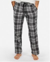 Express - Weekend Double Brushed Plaid Flannel Trousers - Lyst