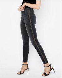 Express - High Waisted Beaded Stretch Ankle Leggings - Lyst