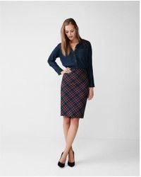 Express Tartan Pencil Skirt