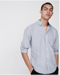 Express - Big & Tall Slim Soft Wash Button Collar Striped Shirt - Lyst