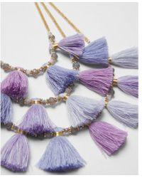 Express - Three Row Beaded Tassel Necklace - Lyst
