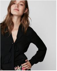 Express - Fitted Tie Neck Shirt - Lyst