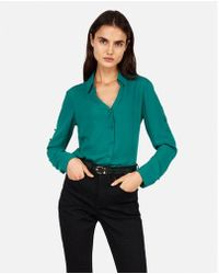 Express - Slim Fit Covered Button Portofino Shirt - Lyst