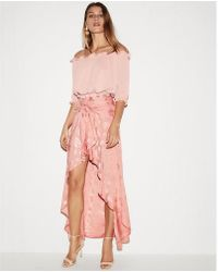 Express - High Waisted Floral Ruffle Hi-lo Maxi Skirt - Lyst