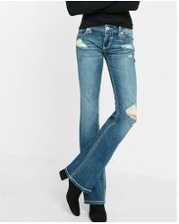 Express - Low Rise Thick Stitch Stretch Bootcut Jeans, Women's Size:00 Long - Lyst