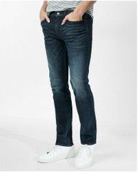 Express - Slim Dark Wash Side Zip Stretch Jeans - Lyst