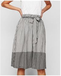 Express - Mixed Pattern Paperbag Waist Midi Skirt - Lyst