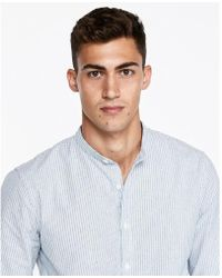Express - Slim Striped Band Collar Shirt - Lyst