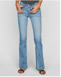 Express - Mid Rise Thick Stitch Stretch Bootcut Jeans, Women's Size:00 Short - Lyst