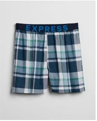 Express - Plaid Exposed Waistband Woven Boxers - Lyst