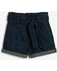 Express - Super High Waisted Paperbag Dark Wash Shorts Blue - Lyst