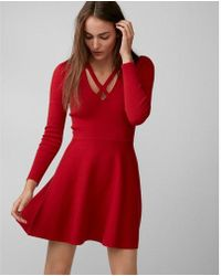 Express | Crisscross Neck Puff Shoulder Fit And Flare Dress | Lyst