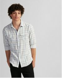 Express - Slim Plaid Double Weave Western Shirt - Lyst