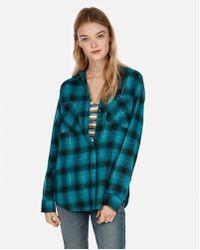 Express - Metallic Plaid Flannel Boyfriend Shirt - Lyst
