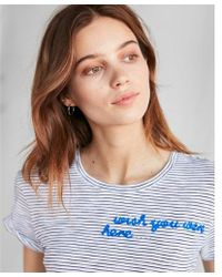 Express - Striped Wish You Were Here Embroidery Tee - Lyst