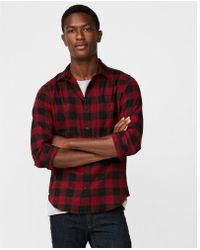 Express - Check Stretch Flannel Shirt - Lyst