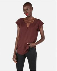 Express - Solid Strappy Cross Front Gramercy Tee - Lyst