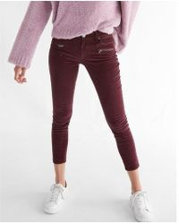 Express - Mid Rise Corduroy Zip Pocket Ankle Leggings - Lyst