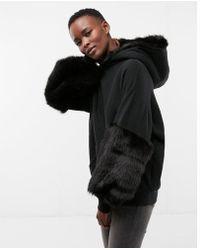 Express - Faux Fur Trim Hooded Sweatshirt - Lyst