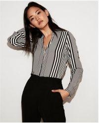 Express - Slim Fit Striped No Pocket Portofino Shirt - Lyst