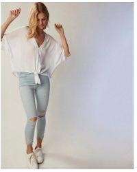Express - Short Sleeve Tie Front Shirt - Lyst