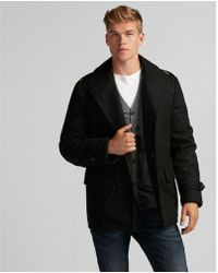 Express - Recycled Wool Water-resistant Peacoat - Lyst