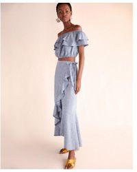 Express - Petite Chambray Ruffle Wrap Maxi Skirt - Lyst
