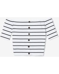 Express - Olivia Culpo Striped Crop Off The Shoulder Button Top Black And White - Lyst