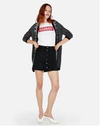 Express - Snap Button A-line Mini Skirt - Lyst