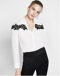 Express - Slim Fit Lace Inset No Pocket Portofino Shirt - Lyst