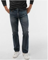 Express - Slim Straight Medium Wash Distressed Soft Cotton Jeans, Men's Size:w32 L32 - Lyst
