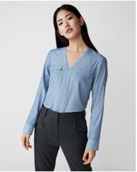 Express - Petite Pindot Shirt - Lyst