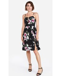 728dfd93bd Express - Floral Lace-up Front Fit And Flare Dress Black - Lyst