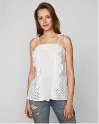 Express - Eyelet Ruffle Front Tie Strap Top - Lyst