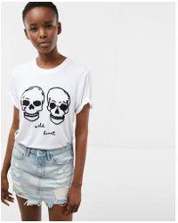 Express - Ld Heart Embroidered Skulls Boyfriend Tee - Lyst