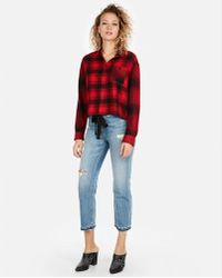 Express - Abbreviated Boxy Flannel Shirt - Lyst