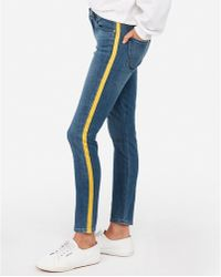 Express - Mid Rise Side Stripe Ankle Leggings Blue - Lyst