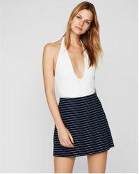 Express - High Waisted Stripe Mini Skirt - Lyst
