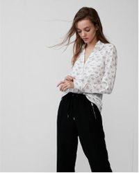 Express - Slim Fit Lip Print Portofino Shirt - Lyst