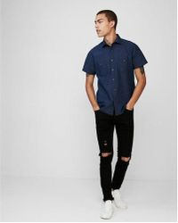 Express - Slim Dobby Short Sleeve Denim Shirt - Lyst