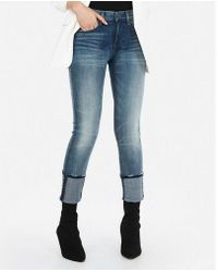 Express - Mid Rise Denim Perfect Cuffed Cropped Skinny Jeans, Women's Size:00 - Lyst