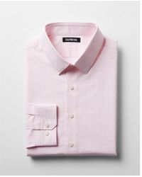 Express - Slim Check Pattern Spread Collar Cotton Dress Shirt - Lyst