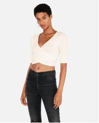 5efb5b920a Lyst - Express One Eleven Ribbed V-neck Cropped Tank in White