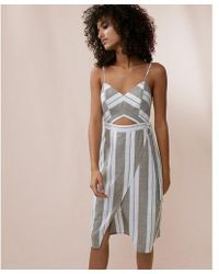 Express - Striped Cut-out Midi Dress - Lyst