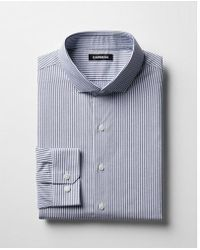 Express - Slim Striped Point Collar Dress Shirt - Lyst