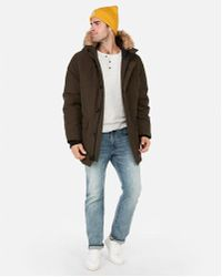 Express - Faux Fur Hooded Parka - Lyst