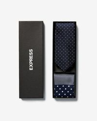 Express - Dot Narrow Silk Tie And Pocket Square Gift Set - Lyst