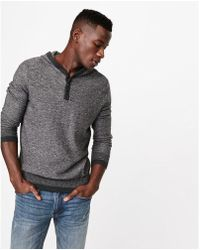 Express - Slub Henley Hooded Sweater - Lyst