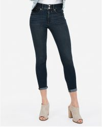 Express - High Waisted Denim Perfect Cropped Leggings Blue - Lyst