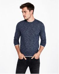 a61396001a0e Lyst - Express Tipped Crew Neck Sweater in Black for Men